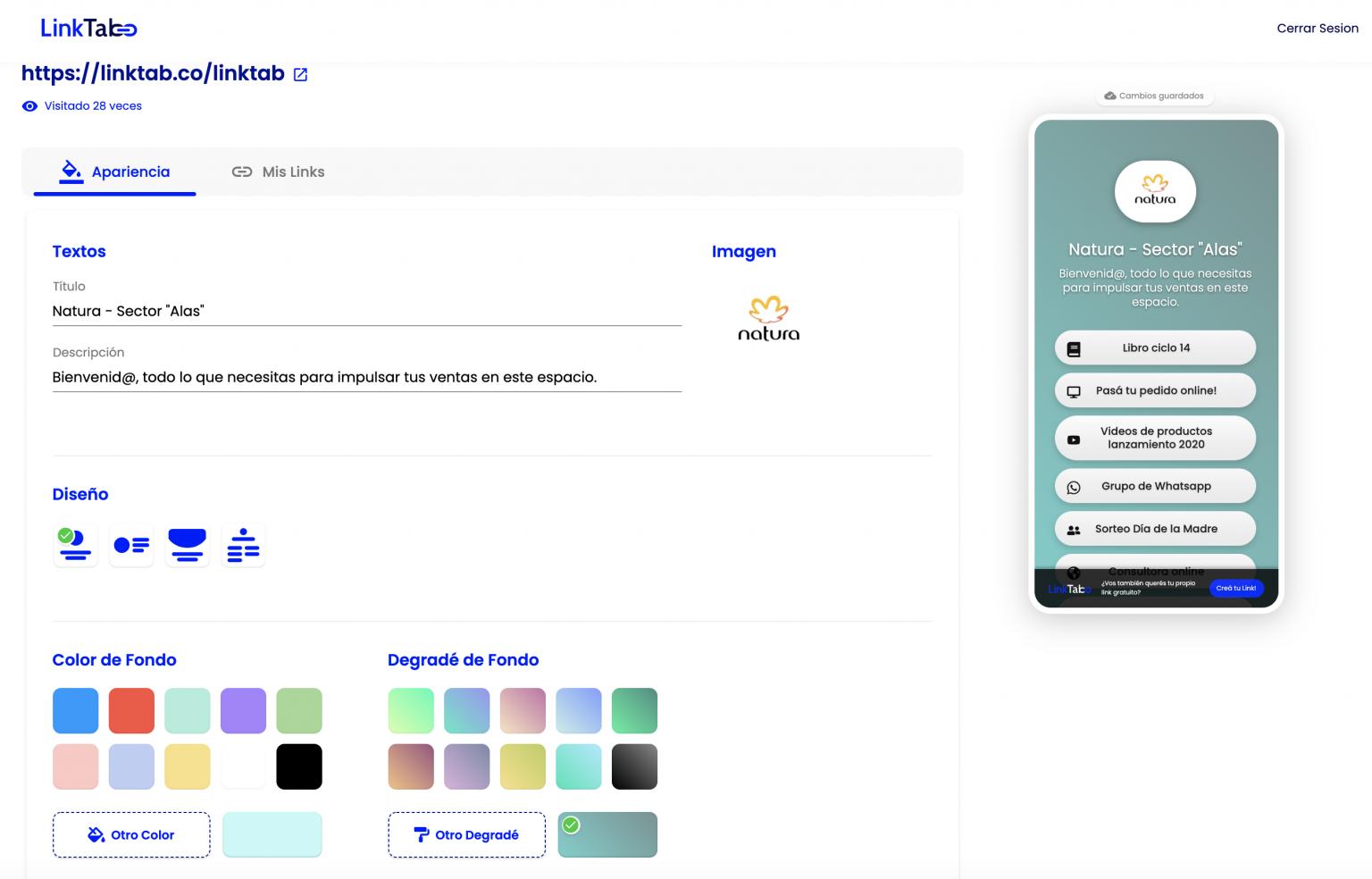 Nuevo Editor de Colores de LinkTab