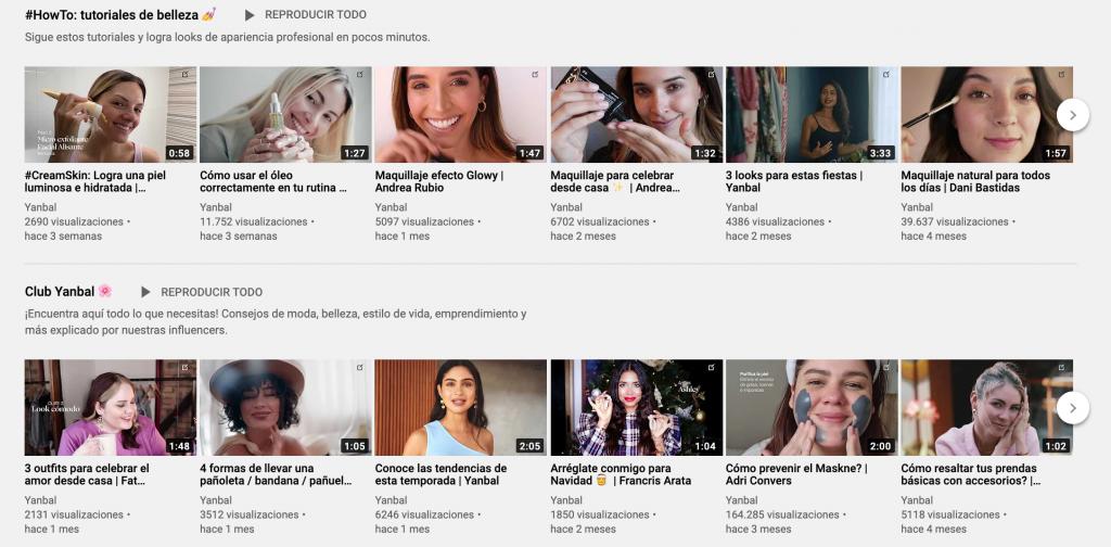 Cuenta de Ejemplo de como vender maquillajes en YouTube