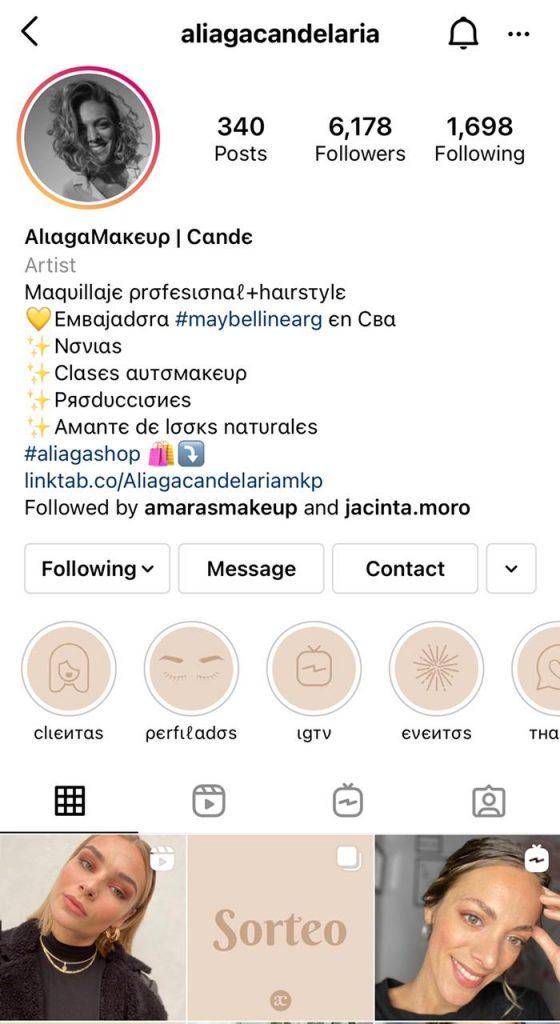 Cuenta de Ejemplo de como vender maquillajes en Instagram