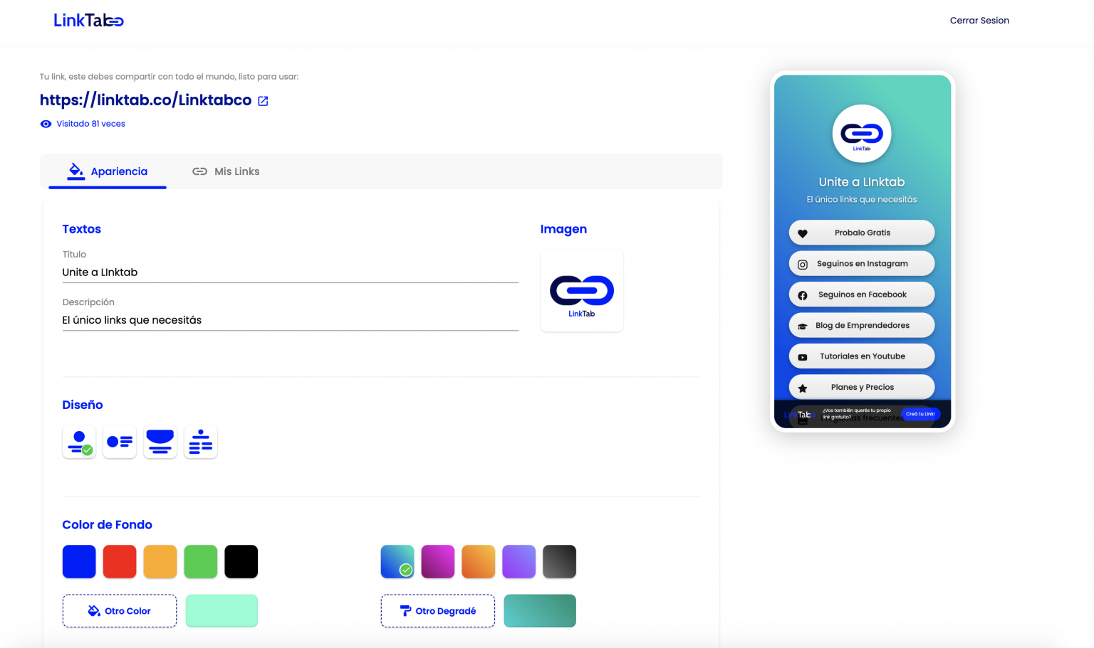 Nueva Visual de tu cuenta de LinkTab