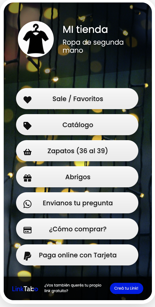 Ejemplo de LinkTab para venta de ropa de segunda mano o usada