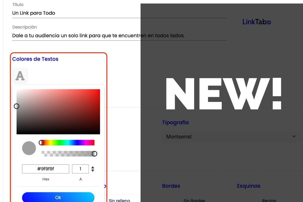 LinkTab: Edita el color del título y descripción de tu link