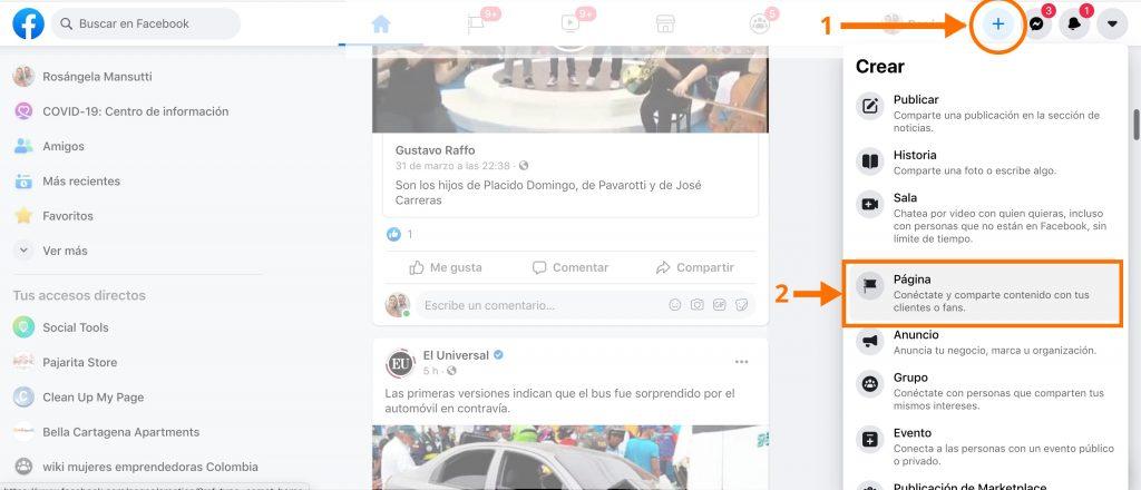Boton para Crear Pagina de Facebook