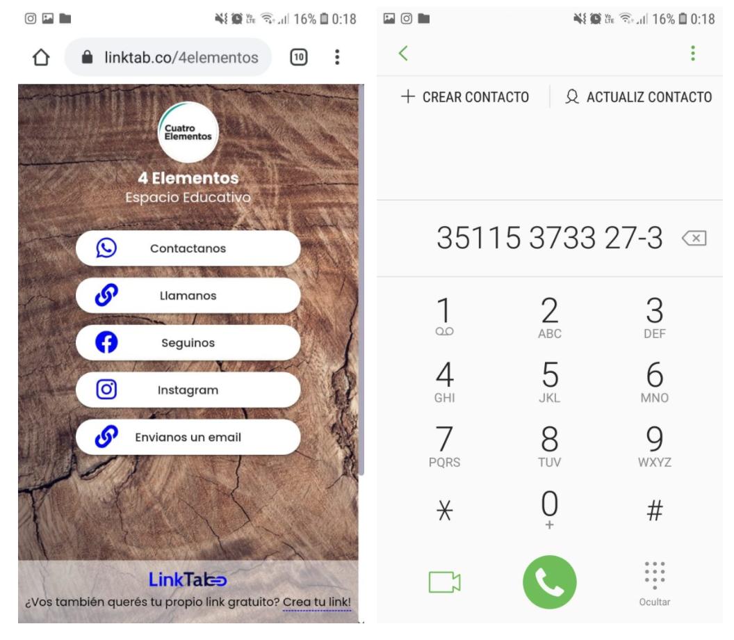 Link para llamadas directas desde Internet